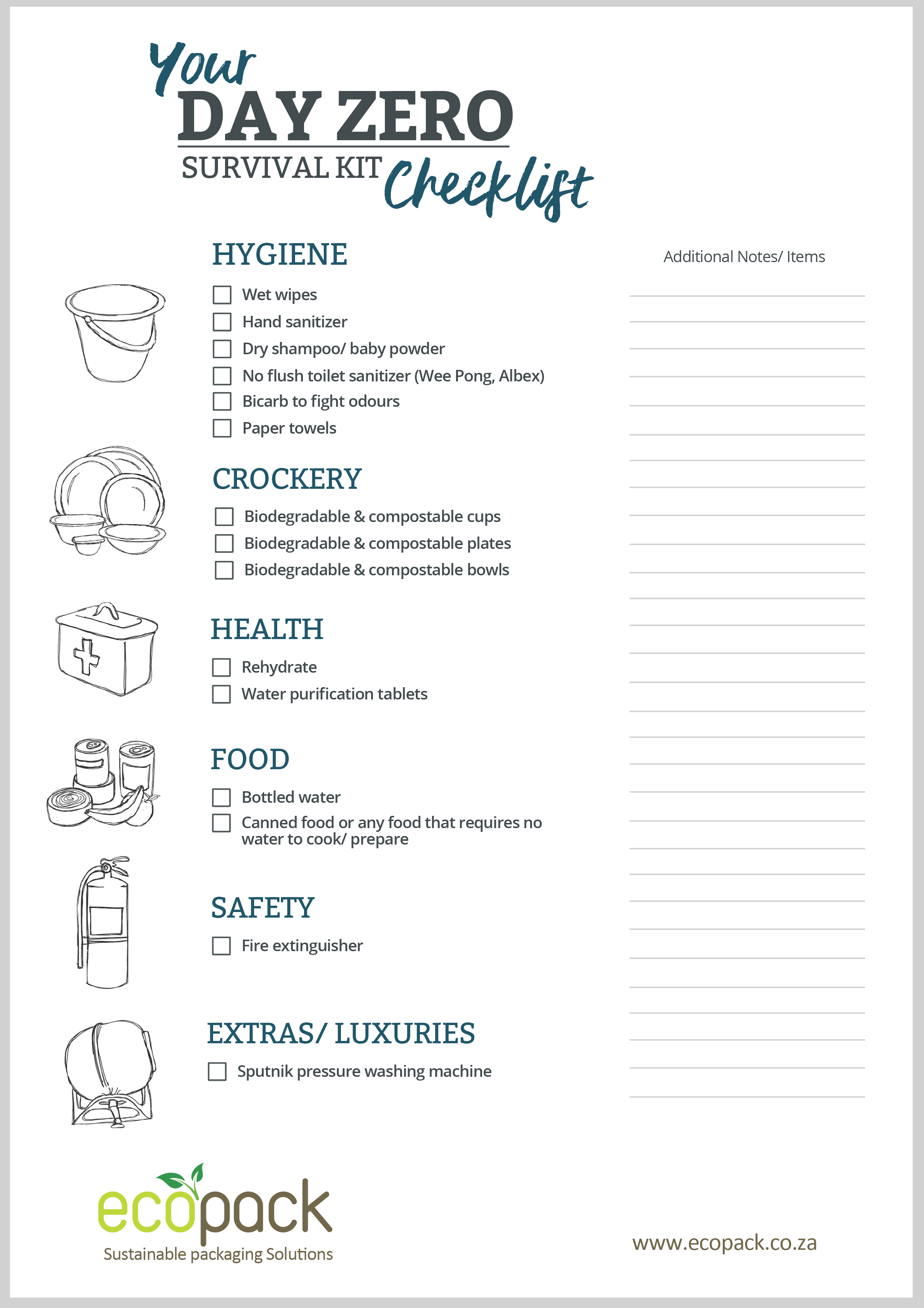 Printable Day Zero Checklist - EcoPack - South Africa