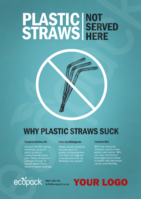 Marketing Support - A4 - No Plastic Straws