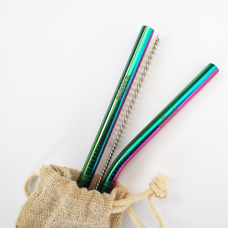 Ecopack Stainless Steel Straw Set Rainbow